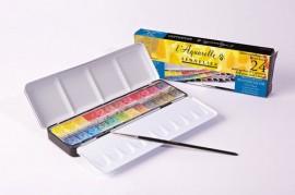 Sennelier L'aquarelle set 24 half- pans + 1 paintbrush N131606.. - #89372